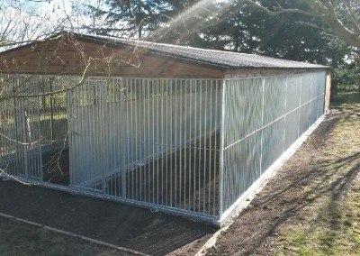 A particularly large purpose built dog run and fully insulated kennel house for two big dogs