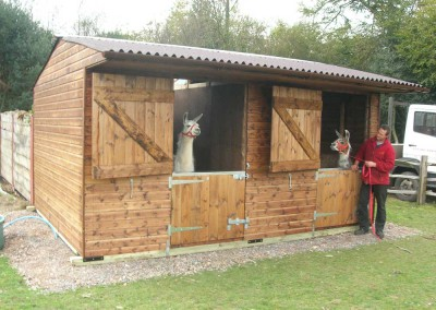 "The ever-versatile mobile stable unit. This one is 4.8m x 3.6m, thus creating 2 units each 2.4m x 3.6m (8'0"" x 12'0""). Ideal for the Llamas at Ashdown Forest Llama Park. This unit on wooden skids."