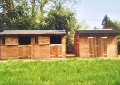 Two stables 10' x 12', and a free standing store 12' x 11', all on  galvanised metal skids, thus easily moved if required.
