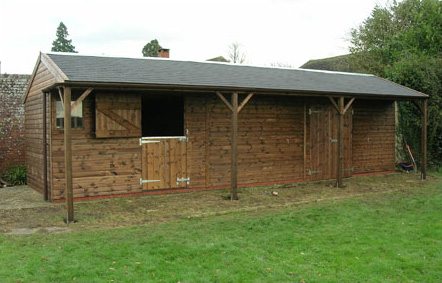 Large roof overhang, feature posts and grey felt tiles. A very pleasing stable and store in a large garden.