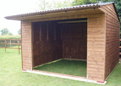 Wooden mobile shelter. Location is important. A dry area with the front not facing the prevailing winds is desirable.