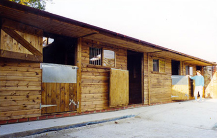 Additional items shown on this block of four Levade stables are extra deep chewstrips, sliding windows, galvanised grills, roof overhang lining and translucent roof sheets. Note: Some customers do not ever use top doors so why have them? Aesthetically top doors are favourable though.