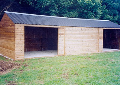 """Large static field shelter 10.8m x 3.6m (36'0"""" x 12'0""""). Sometimes seen serving two paddocks with fencing butting up to front and rear and a dividing partition within."""