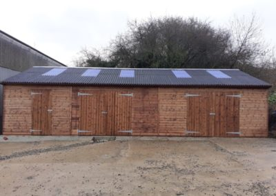 6m wide x 12m long. Can be your workshop ,store unit, mini American barn or animal house with plenty of natural light.